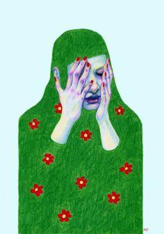 Sad Spring Art Print by Natalie Foss - X-Small Illustration Art, Illustrations, Spring Art, Art Archive, Ap Art, Portrait Art, Portraits, Figurative Art, Painting