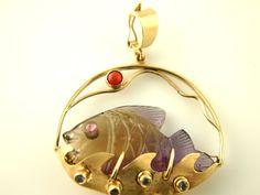 Carved Ametrine Fish Pendant 14k Gold Vintage by VintageParis..
