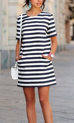 Awesome Striped Summer Dress Ideas You Will Love 11 - Fashion - Summer Dress Outfits Striped Dress Outfit, Summer Dress Outfits, Cute Summer Dresses, Casual Summer Outfits, Stylish Dresses, Cute Dresses, Casual Dresses, Fashion Dresses, Stripe Dress