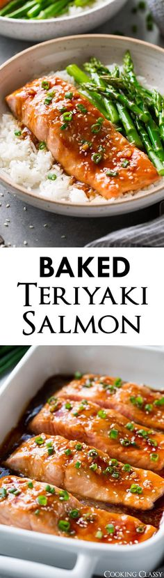 This easy to make oven baked Teriyaki Salmon recipe is destined to become a new favorite! It uses basic ingredients to make a tasty homemade teriyaki sauce that creates the most perfectly glazed salmon. Serve it with white or brown rice and steamed veggies for a delicious weeknight meal!