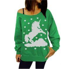 Green and White Horse Sweatshirts 18462-3
