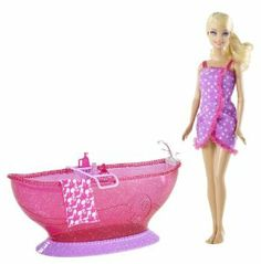 Barbie Hot Tub and Barbie Doll Playset by Mattel. $59.95. Features a tray for all of Barbie's bath accessories. Chill-lax and have fun with Barbie. Barbie doll comes with towel covering to keep her dry. Great for taking a bubble bath with Barbie soaking in her own tub. Barbie is ready to soak in her new glam tub. From the Manufacturer                Barbie Hot Tub and Barbie Doll Playset: Get ready to chill-lax and have fun with Barbie doll who is ready to take a s...