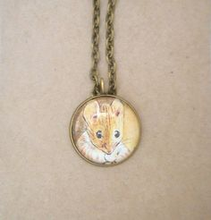 Mouse necklace, mouse pendant, mouse jewellery, vintage necklace, book page necklace, book page jewellery, custom necklace