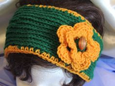 Green & Gold Football Fan Knitted Headband With by AuldNouveau, $10.99