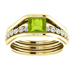 14kt Yellow Gold 5.5mm Center Square Peridot and 22 Accent genuine Diamonds Engagement Ring for Gemstone
