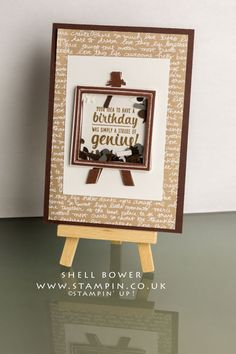 Shell Bower Independent Stampin' Up! Shaker Cards, Painters, Pallet, Stampin Up, Shell, Birthday, Frame, Artwork, Cards