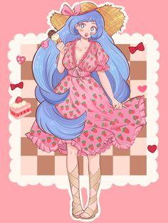 Pretty Art, Cute Art, Otaku Anime, Anime Art, Arte Do Kawaii, Kiss Art, Strawberry Dress, Cute Little Drawings, Anime Akatsuki
