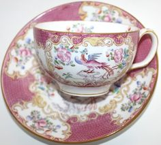 Vintage Minton Pink Cockatrice Tea Cup and Saucer