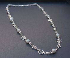 Sterling silver chainmaille necklace with labradorite beads. Chain maille jewellery.