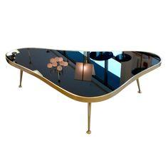 1950's Italian Amoeba Form Brass & Black Mirror Cocktail Table