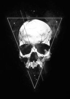skull stars graphics design mixed Black & White