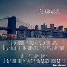 "-- #LyricArt for ""If I Had A Gun..."" by Noel Gallagher's High Flying Birds"