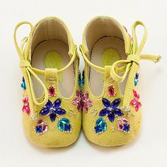 Crystal-embellished yellow leather T-bar baby shoes by Vibys