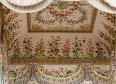 Fantastic embroidery in Marie Antoinette's bed chamber - as re-created by team of skilled embroiderers in mid-20th century. (4th of five pins)
