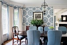 Styled by StacyStyle for @New England Home. Photo by Sam Gray. Blue and white dining room.
