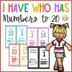 """Practice number sense to 20 with a super fun """"I have Who has"""" game! Students will be engage while recognizing numbers on standard form and ten frame! Great for Math centers and early finishers.Cards are available in color and Black/white polka dots. First Grade Curriculum, First Grade Science, Social Studies Resources, Math Resources, Hands On Learning, Fun Learning, Elementary Math, Kindergarten Math, Standard Form"""