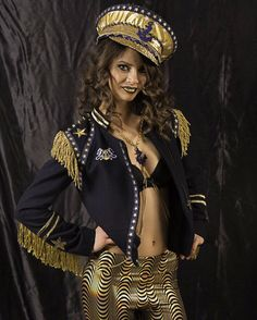 Womens Nautical jacket & hat set, S / M navy gold party outfit, fringe sequins…