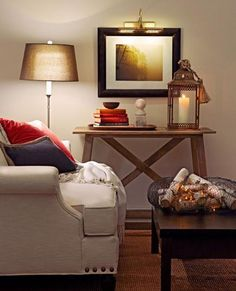 Low light enhances the romance of fall days. More fall decorating tips: http://www.midwestliving.com/homes/seasonal-decorating/12-cozy-fall-decorating-ideas/?page=9