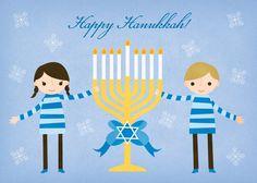 Happy Menorah - Hanukkah Greeting Cards in Ocean | Rosy Designs