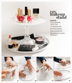 A two teir makeup holder made with a glass candlestick and plates - DIY with P.S. I Made This and Nordstrom Beauty Spot