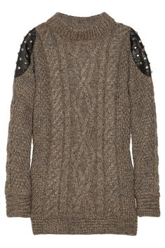Elizabeth and James Studded Leather-Paneled Sweater
