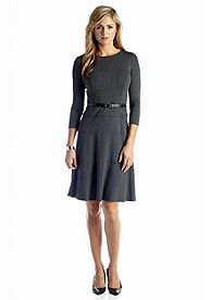 Anne Klein Fit and Flare Belted Swing Dress