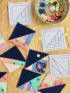 Complete Tiny Piecing Collection - & Scrappy Triangles and & Scrappy Strips - Foundation paper pieced quilt block patterns. Great for busting though your scraps and leftover fabric — Leila Gardunia Foundation paper pieced patterns for Scrappy Triangles. Paper Pieced Quilt Patterns, Quilt Block Patterns, Pattern Blocks, Quilt Blocks, Quilting Projects, Quilting Designs, Sewing Projects, Sewing Tips, Miniature Quilts