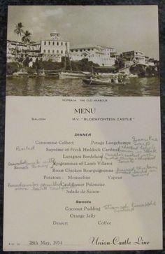 Union Castle Line Menu Mombasa 1954 Kenya Nairobi, Vintage Safari, Mombasa, Gilded Age, East Africa, Tanzania, Uganda, Lakes, Colonial