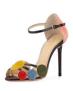 Contemporary Suede Circle Sandal, Multi by Charlotte Olympia at Neiman Marcus.