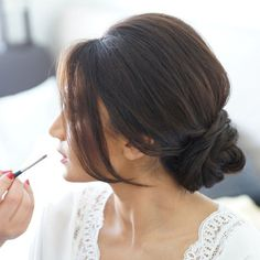 Browse our gallery of bridal updo hairstyle hair looks for a bride on her wedding day. Photos from the best bridal hair stylists in the country. Up Dos For Medium Hair, Medium Hair Styles, Short Hair Styles, Simple Buns For Medium Hair, Buns For Long Hair, Updos For Thin Hair, Pelo Formal, Wedding Hair Inspiration, Bridal Updo