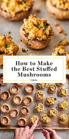 Best Stuffed Mushrooms, Stuffed Mushroom Caps, Stuffed Peppers, Vegetarian Stuffed Mushrooms, Stuffed Mushroom Recipes, Best Mushroom Recipe, Mushrooms Recipes, Appetizers For Party, Appetizer Recipes