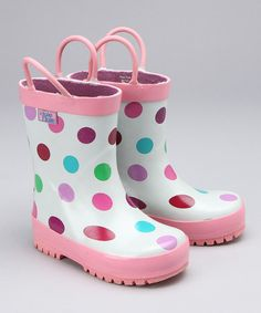 Take a look at this Pink Polka Dot Rain Boot by Cloudy With a Chance: Rain Gear on #zulily today!