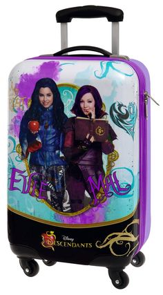 Mal and Evie suitcase Disney Descendants Dolls, Disney Descendants 3, 18th Birthday Party Themes, Red And Black Background, Brooklyn And Bailey, Ramadan Crafts, Zeina, Disney Princess Dresses, The Descendants