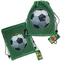 Idea: Mandar a hacer 30 bolsitas de color morado con una pelota de fútbol y con el símbolo de los novios bordado