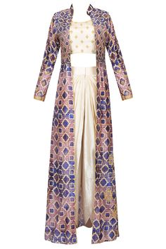 Off white embroidered crop top and dhoti pants with blue printed jacket available only at Pernia's Pop Up Shop. Indian Attire, Indian Wear, Indian Style, Kurta Designs, Blouse Designs, Dress Designs, Latest Designer Sarees, Designer Dresses, Indian Dresses