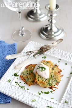 Baked latkes with chipotle cream