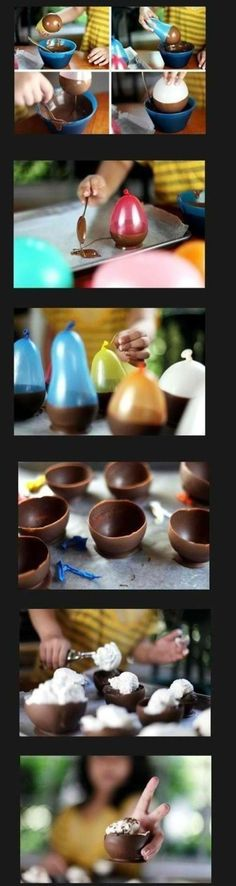Balloon Chocolate Ice Cream!  Great idea especially for kids!