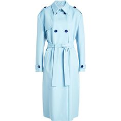 Victoria Victoria Beckham Drop Shoulder Wool Trench ($970) ❤ liked on Polyvore featuring outerwear, coats, coats & jackets, jackets, overwear, blue, woolen coat, wool trench coats, trench coats and blue coat