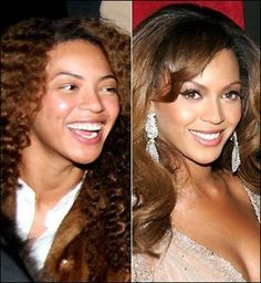 16 Shocking Photos Of Celebrities Before And After Makeup - Beyonce - IMO she looks good with or without makeup