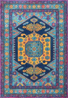 Loving this pretty and blue Rugs USA Bosphorus Antoinette Floral Framed Kashan BD46 Rug!