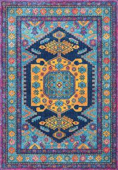 Loving this pretty and blue Rugs USA Bosphorus Antoinette Floral Framed Kashan BD46 Rug!