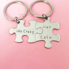Valentines Day Gift, His Crazy Her Calm, Couples Keychains, anniversary gift, puzzle pieces Couple Tat, Couple Stuff, Couple Things, Couple Ideas, Wedding Anniversary Gifts, Anniversary Ideas, Puzzle Pieces, Couple Gifts, Valentine Day Gifts