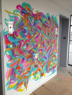 Abstract mural by Miles Wickham AKA RESKEW  @55 Hope (55 Hope st.) condos in Williamsburg, Brooklyn, NYC.   Acrylic brush paints. 1 of 19 individual murals.   Colorful movement