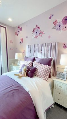 Discover professional decorating strategies to create model-home worthy style with ease. Girls Room Design, Teen Bedroom Designs, Room Design Bedroom, Room Ideas Bedroom, Home Room Design, Tween Girl Bedroom Ideas, Kids Bedroom Ideas For Girls, Little Girls Playroom, Purple Bedroom Design