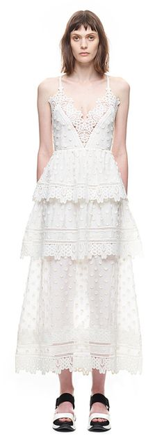 Ivy Lace Trim Midi Dress in White
