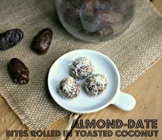 Almond Date Bites Rolled in Toasted Coconut.  So yummy and whole 30 approved :)