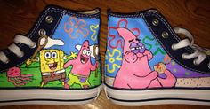 Spongebob  Patrick Hand Painted Converse by CandysCustomPaints, $95.00
