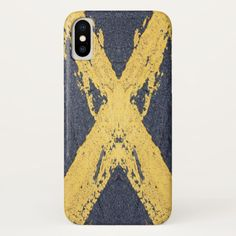 Painted yellow cross iPhone x case