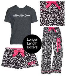Kappa Kappa Gamma Pajama Pants in fun leopard with pink accents and pink stitched Greek letters. Complete the Kappa Kappa Gamma pajama set with matching boxer shorts and Greek t-shirt. #kappakappagamma #kappa http://manddsororitygifts.com/shop-by-sorority-store/