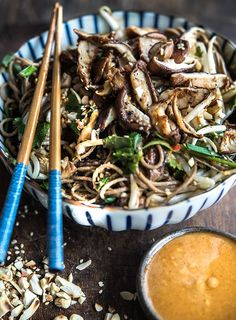 Wild Greens and Sardines : Buckwheat Noodles with Shiitakes and A Peanut-Tahini Dressing